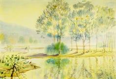 Pintura original da paisagem da aquarela colorida da árvore, das lagoas e da montanha ilustração do vetor