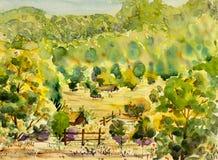 Pintura original da paisagem da aquarela colorida da montanha e do monte da vila Imagem de Stock Royalty Free