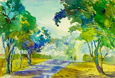 Pintura original da paisagem da aquarela colorida do exercício e da emoção da manhã Imagens de Stock