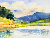 Pintura original da paisagem da aquarela colorida do rio ilustração royalty free