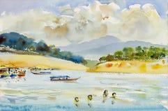Pintura original da paisagem da aquarela colorida do rio da montanha Imagem de Stock Royalty Free