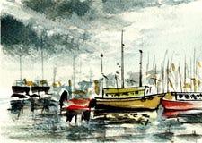 Pintura original de la acuarela - barco del pescador en puerto ilustración del vector