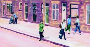 Pintura original de la gente en una calle en verano libre illustration