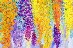 Pintura original de las flores de la acuarela abstracta Foto de archivo