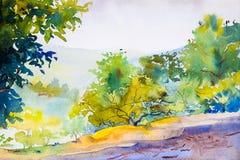 Pintura original del paisaje de la acuarela colorida del bosque ilustración del vector