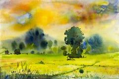 Pintura original del paisaje de la acuarela colorida de campo del arroz Imagen de archivo