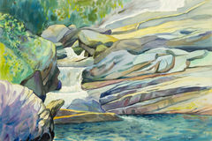 Pintura original del paisaje de la acuarela colorida de la cascada Fotografía de archivo
