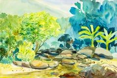 Pintura original del paisaje de la acuarela colorida de la montaña y del río Imagen de archivo