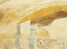 Pintura original do fumo denso poluído ilustração stock