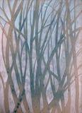 Pintura original muy bonita de la acuarela del bosque en el papel stock de ilustración