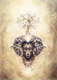 Pintura ornamental del aries, del símbolo animal sagrado, del árbol de la vida, de la flor de la vida y del merkaba imagen de archivo libre de regalías