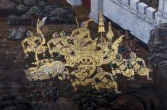 Pintura pública del arte en Wat Phra Kaew Fotos de archivo
