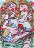 Pintura pastel do óleo do amor dos palhaços Foto de Stock