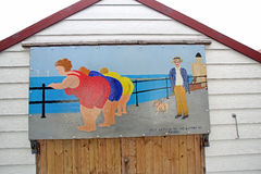 Pintura picante da cabana da praia do cartão Imagens de Stock