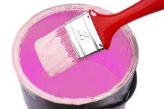 A pintura podem e a escova de pintura Fotografia de Stock