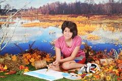 Pintura por la charca Imagen de archivo libre de regalías