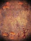 Pintura prehistórica con los cazadores Imagen de archivo libre de regalías