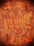 Pintura prehistórica de la cueva stock de ilustración