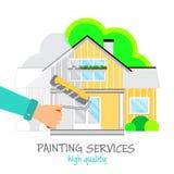 A pintura presta serviços de manutenção ao logotipo A mão com um rolo na pintura amarela pinta uma casa bonita Casa antes e depoi ilustração stock