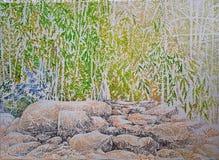 Pintura profunda de pedra do impressionismo da floresta das rochas imagem de stock royalty free