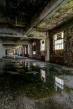 Pintura que refleja en aguas inmóviles - fábrica de cristal abandonada de Windows y de la peladura Fotos de archivo libres de regalías