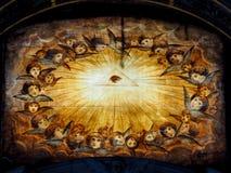 Pintura religiosa en la madera imágenes de archivo libres de regalías