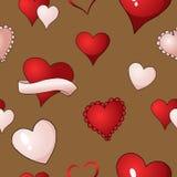 Pintura repetidor de la materia textil del fondo inconsútil del modelo del vector de los corazones de las tarjetas del día de San ilustración del vector