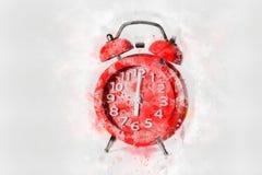 Pintura roja de la acuarela del despertador en el fondo blanco, estilo digital del arte, fotografía de archivo