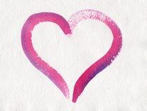 Pintura rosada de la acuarela del corazón Foto de archivo