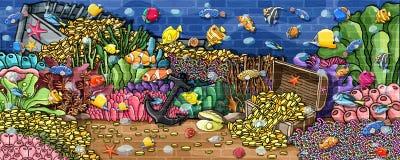 Pintura subacuática de la pared del tesoro de los animales stock de ilustración