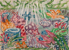 Pintura subacuática del extracto del mundo Fotografía de archivo