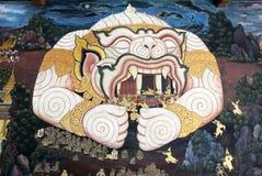 Pintura tailandesa del arte de Lai en la pared en templo Fotografía de archivo libre de regalías