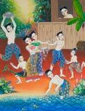 Pintura tailandesa del arte en la pared en templo. Fotografía de archivo