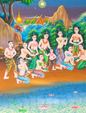 Pintura tailandesa del arte en la pared en templo. Fotos de archivo libres de regalías