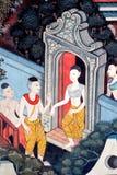 Pintura tailandesa del arte en la pared en templo Fotos de archivo