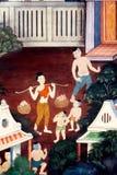 Pintura tailandesa del arte en la pared en templo Fotos de archivo libres de regalías