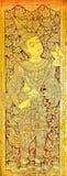Pintura tailandesa del estilo del arte tradicional en la puerta en el templo, norte de Tailandia Foto de archivo