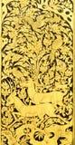 Pintura tailandesa en el fondo de madera del oro Imagenes de archivo