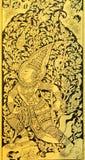 Pintura tailandesa en el fondo de madera del oro Foto de archivo