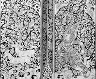 Pintura tailandesa en la madera Fotografía de archivo