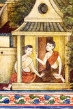 Pintura tailandesa en la pared en templo Imagen de archivo