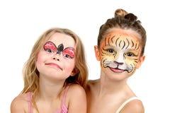 Pintura, tigre y mariquita de la cara Imagen de archivo