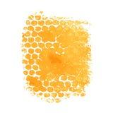 A pintura, tinta, grunge, cursos sujos da escova espirra o amarelo alaranjado ilustração do vetor
