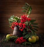 Pintura Todavía vida con el florero, flores, fruta, serbal en el fondo de madera Puede ser utilizado para crear los paquetes, car imagenes de archivo