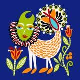 Pintura tradicional étnica ucraniana del animal de la fantasía, dibujo original de la mano stock de ilustración