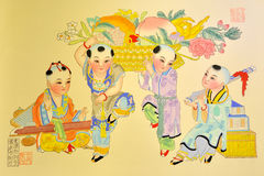 Pintura tradicional china, el jugar de los cabritos Imagen de archivo libre de regalías