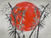 Pintura tradicional del sumi-e de Japón Ejemplo de la acuarela y de la tinta en el sumi-e del estilo, u-pecado Montaña de Fuji, S fotografía de archivo