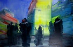 Pintura urbana contempor?nea moderna da arquitetura da cidade do ?leo do sum?rio ilustração do vetor