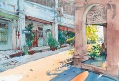 Pintura velha da aquarela da construção do cenário da cidade da herança imagens de stock