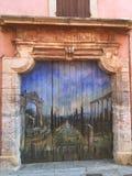 Pintura velha da pintura da arquitetura da história da porta Fotografia de Stock